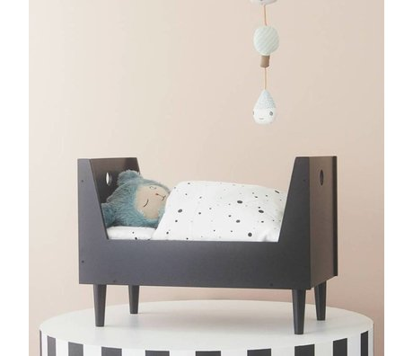 OYOY Doll bed retro dark gray MDF 52x29x38cm