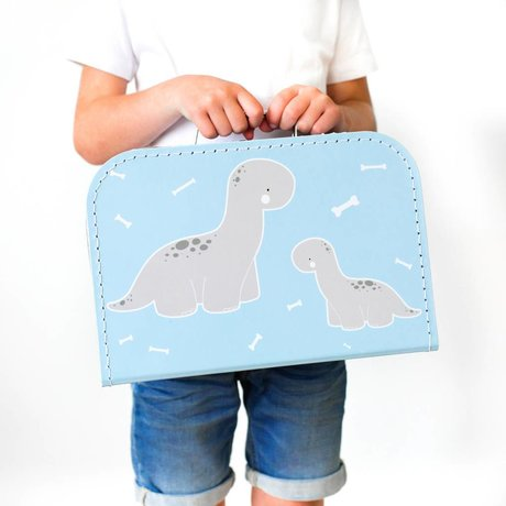 A Little Lovely Company Kinder koffertje Baby Brontosaurus blauw 30x20,5x9cm