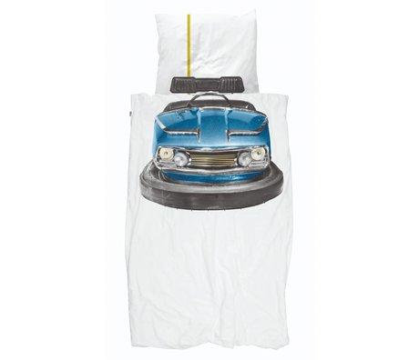 Snurk Beddengoed Duvet cover Bumper Car blue white cotton 140x200 / 220cm + 60x70cm