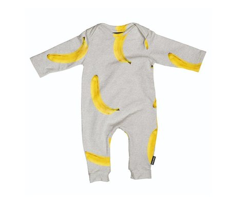 Snurk Beddengoed Romper Banana gray yellow cotton size 62