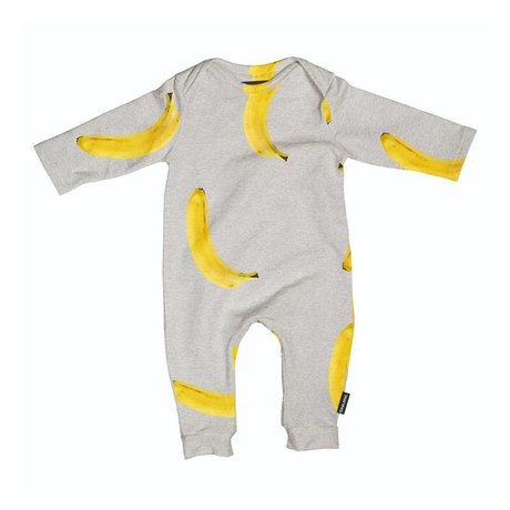 Snurk Beddengoed Rompertje Banana grijs geel katoen maat 62