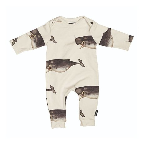 Snurk Beddengoed Romper Whale by the dybdahl off-white gray cotton size 62