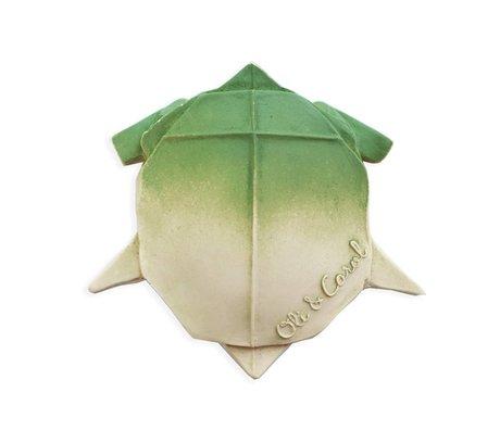 Oli & Carol Badspeeltje en bijtspeeltje H2origami Turtle groen wit