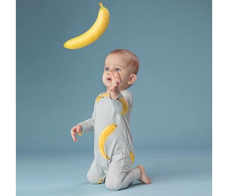 Snurk Beddengoed Rompertje Banana grijs geel katoen maat 68