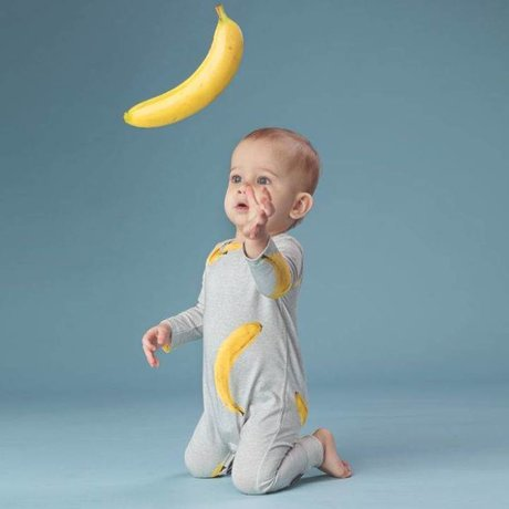 Snurk Beddengoed Baby bodysuit Banana gray yellow cotton size 68