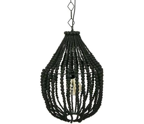 BePureHome Hanging lamp Funale chandelier black wood L 54x∅42cm