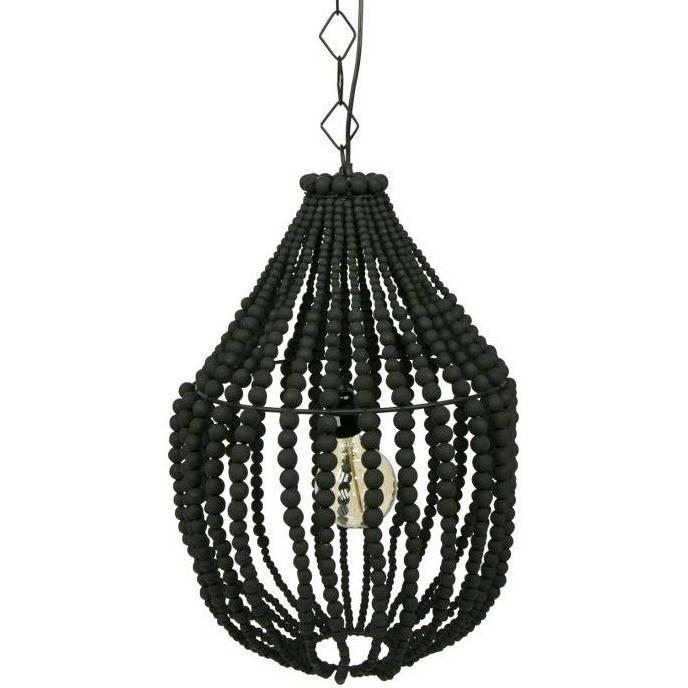 Betere Hanglamp Funale kroonluchter zwart hout L 54x∅42cm - wonenmetlefkids AW-57