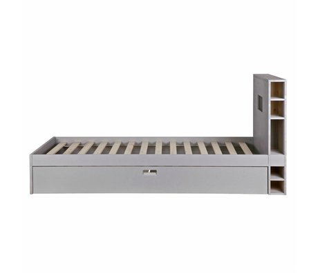vtwonen Bed store with mattress drawer gray wood 100x218x96cm