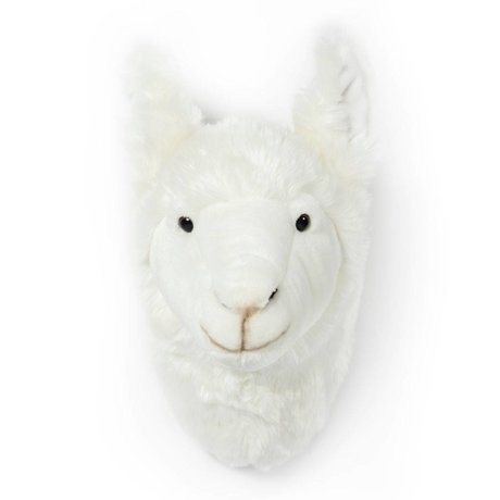 Wild and Soft Animal head llama Lily white textile 32x15x31cm