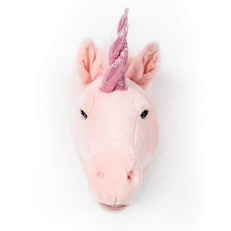 Wild and Soft Animal head unicorn Julia pink textile 37x18x35cm