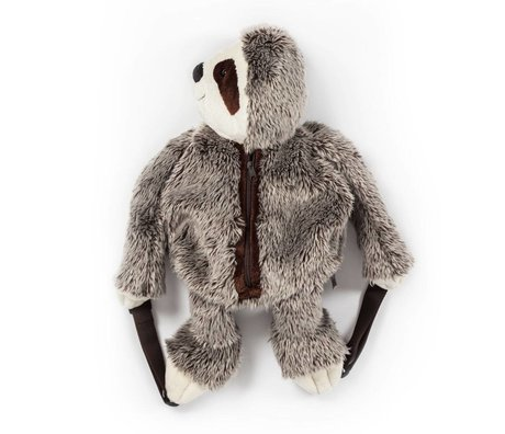Wild and Soft Backpack Sloth gray textile 50x25x12cm