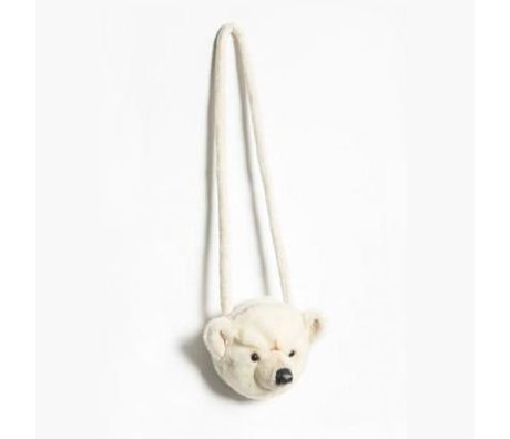 Wild and Soft Shoulder bag Polar bear white textile 12x19x15cm