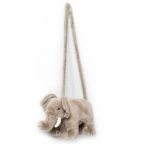 Wild and Soft Shoulder bag Elephant gray textile 31x9x17cm