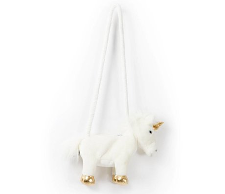 Wild and Soft Shoulder bag Unicorn white gold textile 29x8x25cm