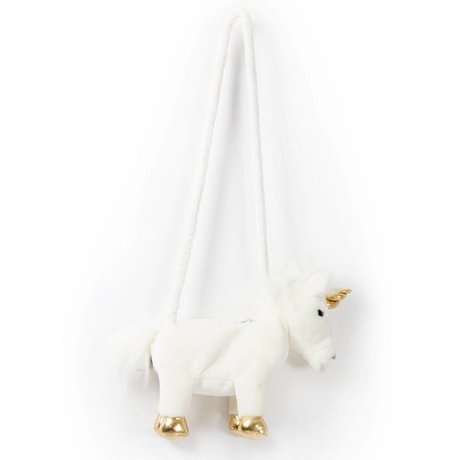 Wild and Soft Schoudertasje Eenhoorn wit goud textiel 29x8x25cm