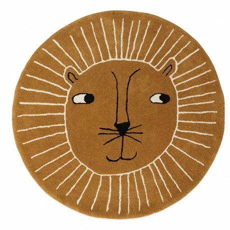 OYOY Rug Lion brown wool cotton ø95cm