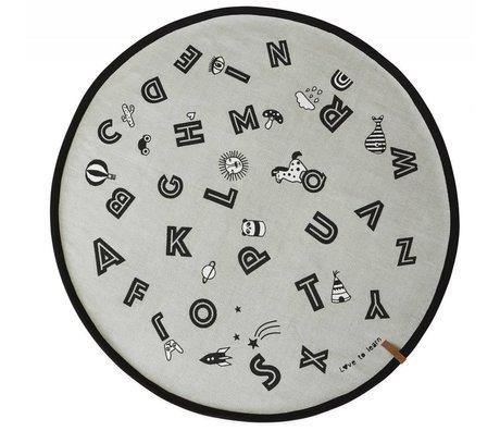 OYOY Vloerkleed Alphabet grijs katoen  ø120cm