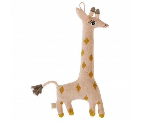 OYOY Knuffel kussen baby Guggi Giraffe katoen 17x32cm