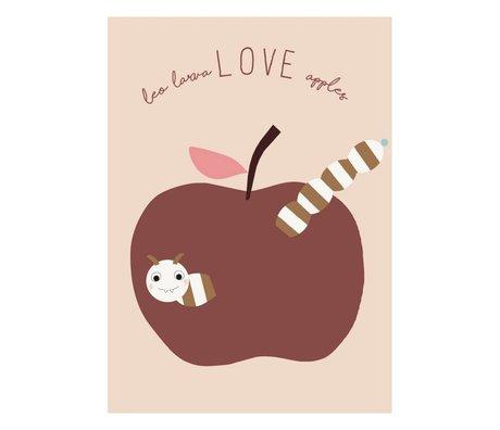 OYOY Poster love apples poeder roze bordeaux papier 50x70cm