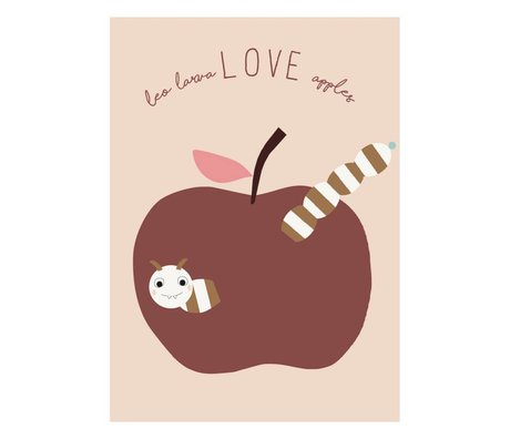OYOY Poster love apples powder pink burgundy paper 50x70cm