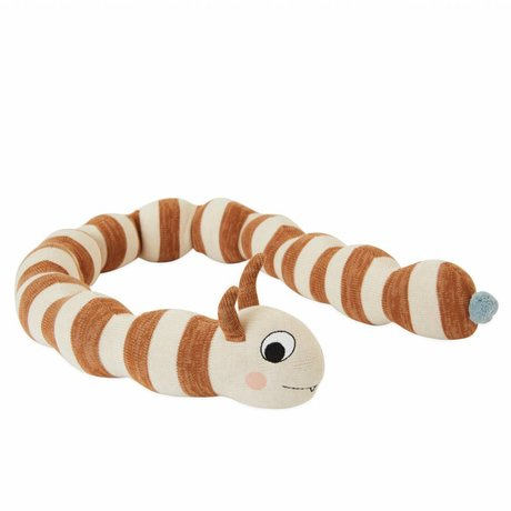 OYOY Cuddle cushion Leo Larva broken white caramel brown cotton ø16x140cm