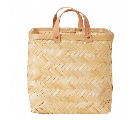 OYOY Wall basket Sporta natural brown bamboo 25x25x25cm