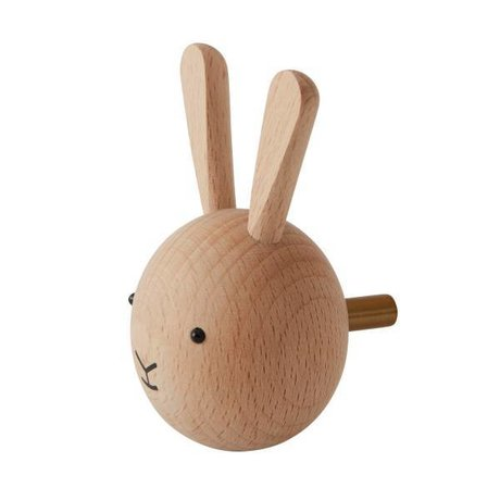 OYOY Wall hook Rabbit natural wood 4,5x6x4,5cm