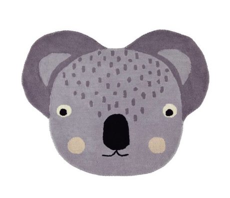 OYOY Carpet koala gray cotton 100x85cm