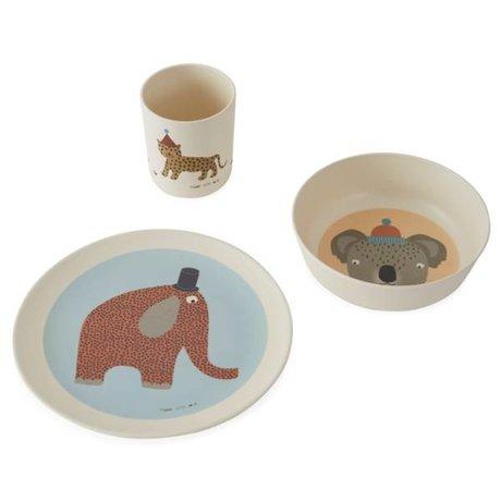 OYOY Tableware Hathi multicolour bamboo set of 3