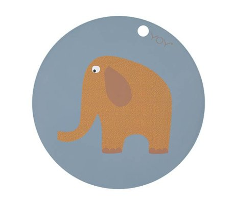 OYOY Placemat Elephant round blue yellow silicone Ø39x0,15cm
