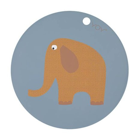 OYOY Placemat Elephant rond blauw geel siliconen Ø39x0,15cm