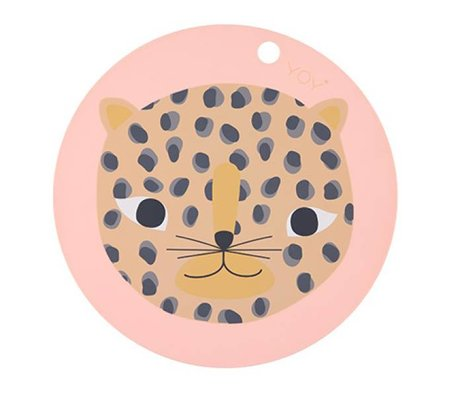 OYOY Placemat Snow leopard round coral pink silicone Ø39x0,15cm
