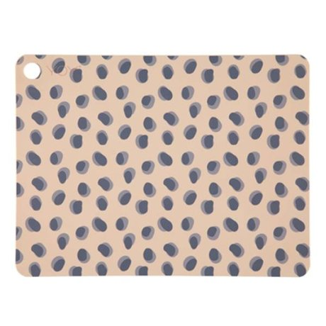 OYOY Placemat Leopard dots camel brown silicone 45x34x0.15cm set of 2