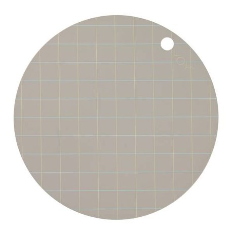 OYOY Placemat Hokei grijs siliconen Ø39x0,15cm set van 2