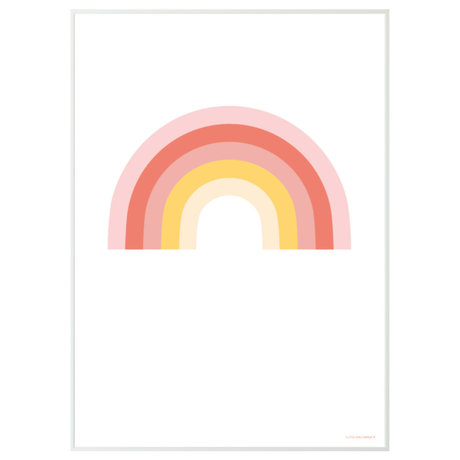 A Little Lovely Company Poster Rainbow wit multicolour papier 50x70cm