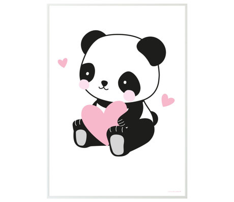 A Little Lovely Company Poster Panda white black pink paper 50x70cm