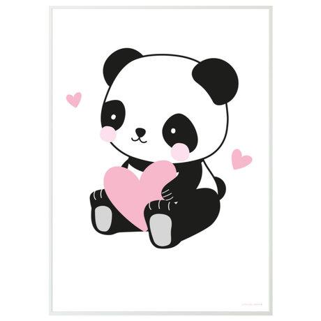 A Little Lovely Company Poster Panda wit zwart roze papier 50x70cm