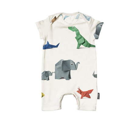 Snurk Beddengoed Romper paper zoo cotton size 62