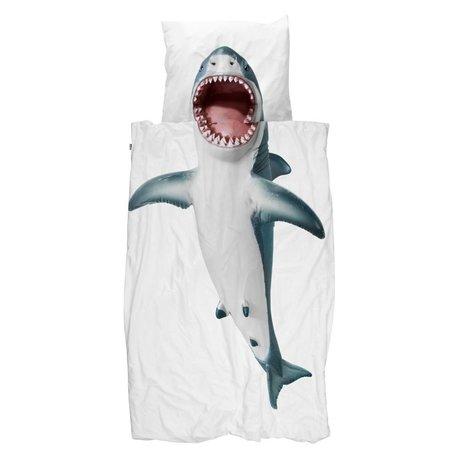 Snurk Beddengoed Dekbedovertrek Shark!! wit katoen 140x200/220cm - incl kussensloop 60x70cm