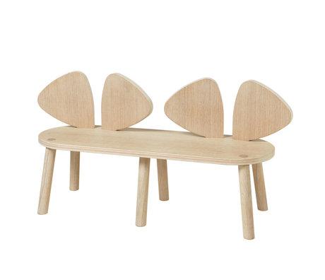 NOFRED Kinderbankje Mouse eiken hout 87,2x28x45,9cm