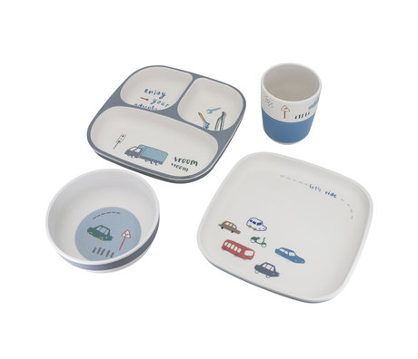 Sebra Kinderservies Little driver bamboo melamine set van 4