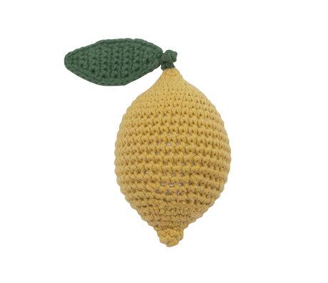Sebra Rammelaar Citroen geel groen katoen 6x9cm
