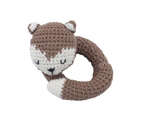 Sebra Rattle Fox brown white cotton and wood 12x11.5 cm