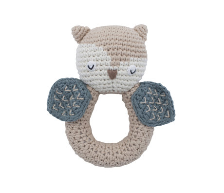 Sebra Rattle Owl brown blue cotton and wood 9.5x13cm