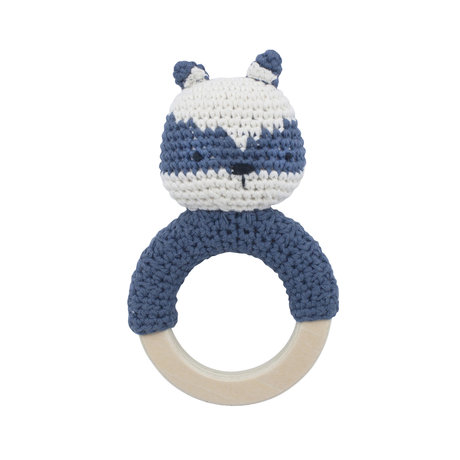 Sebra Rattle Rebel forest lake blue cotton and wood 8x15cm