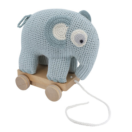 Sebra Pull Animal Elephant Fanto blue cotton 24x13x25cm
