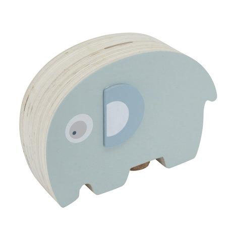 Sebra Spaarpot Fanto de olifant blauw hout 18,8x6,1x11,8cm