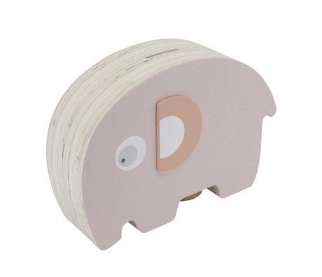 Sebra Spaarpot Fanto de olifant roze hout 18,8x6,1x11,8cm