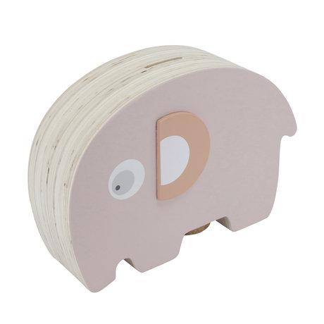 Sebra Money box Fanto the elephant pink wood 18,8x6,1x11,8cm