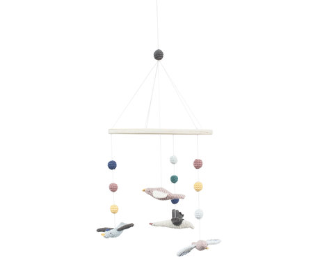 Sebra Mobiel Singing birds multicolour textiel hout 22x57cm